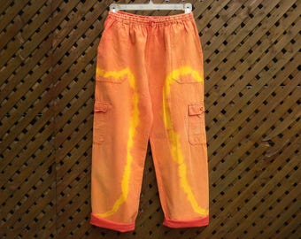 Vintage 80s 90s Tie Dye Orange Yellow Cotton Cargo Lounge Pants Size S M