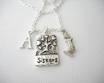 Sisters, Mermaid- Initial Necklace/ Sister jewelry gift, message jewelry, lil sis big sis, big sister, little sister, sister quote