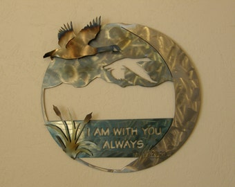 Metal wall art sculpture with geese and Scripture
