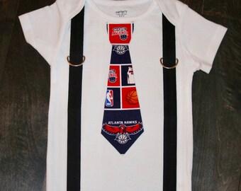 Atlanta Hawks tie and suspenders onesie / bodysuit - Atlanta outfit - NBA boys outfit