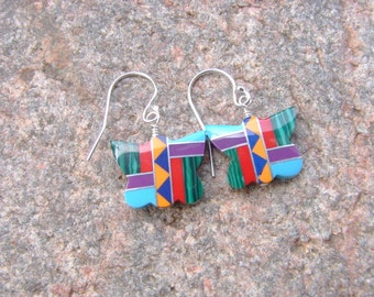 Southwest Butterfly Inlay Earrings, Butterfly Earrings, Southwest Style Earrings, Multicolor Inlay Earrings