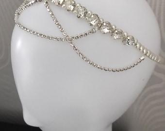 1920s style Bridal headband-crystal bridal headdress - Gatsby headpiece - pearl forehead headband bridal brow band ,