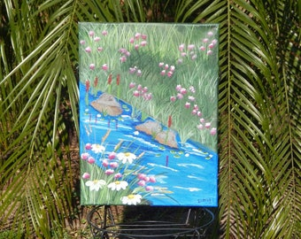 Shabby Chic, Hand painted, Handpainted, Bubbling Brook, Grass, Flowers, Floral, Acrylic