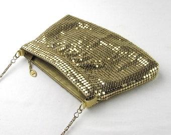 Shiny Gold Mesh Purse - Clutch with Hide-Away Strap - Zippered - Fancy - Dressy Evening Bag - Wedding - Prom - Dancing - Retro Fashion Fun