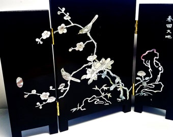 Vintage, Asian Black Lacquer, 3-Panel Wood Screen, Hand-Painted MOP Birds and Flowers