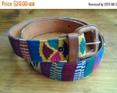 SALE Guatemalan embroidered belt Vibrant colourful S M