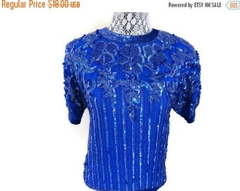 SALE Blue Sequin Blouse Pure Silk Made in India Size S Small Vintage 80s