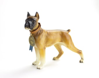 HOLD ----------------------- Boxer Dog Figurine, MINT Napco Dog Figurine, Dog Lover Collectible Boxer Figurine Ceramic 1950s Boxer Puppy