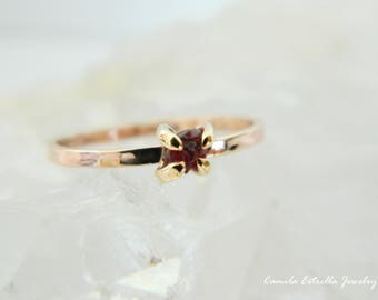 Ruby Engagement Ring,  Promise Ring, Ruby Ring, Ruby Stone, Anniversary Ring, Rose Gold Ring, Promise Ring for Her, Ruby Gemstone