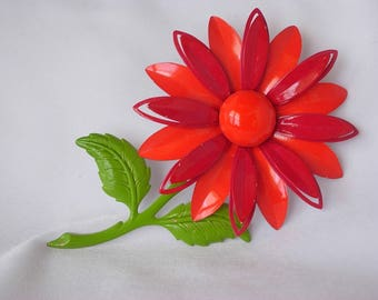 "Huge Vintage Bright Red Orange Flower Brooch Pin Almost 4"" Long Enamel on Metal Lime Green Stem Leaves Dimensional Riveted Boho Hippie Retro"