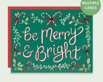 Candy Canes Holiday Card, Be Merry and Bright Holiday Cards, Cute Christmas Cards, Candy Cane Card, Candy Cane Holiday Card, Watercolor Card