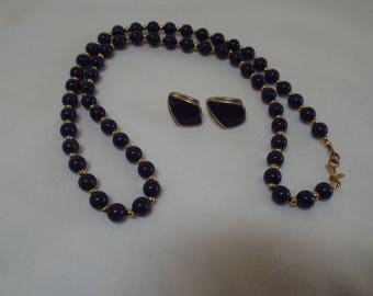 Monet Navy Blue and Gold Tone Beaded Necklace and Earrings