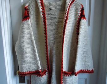 Vintage 70s Hand Knit MAXI CARDIGAN sz S