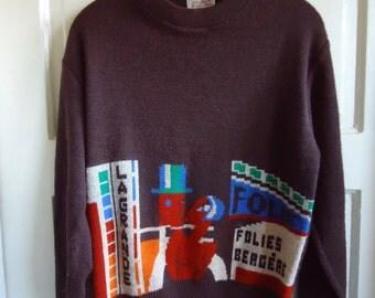 Vintage 70s La Grande FOLIES BERGERE French Style Sweater sz S/M