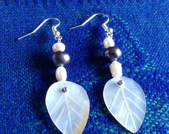 Pair of earrings   with mother  of pearl and fresh water pearls