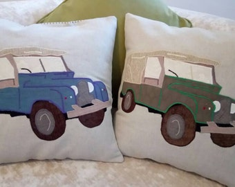 "Classic Series 1 Land Rover Defender Cushion Pillow Vehicle Landrover 18""x18"" 45x45cm Bye Brytshi"