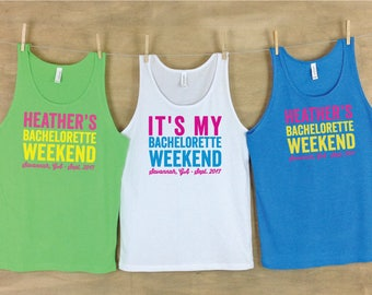 Bachelorette Weekend Personalized Distressed Text Beach Tank Sets
