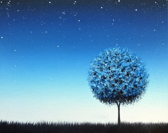 Blue Night Landscape Painting, Starry Night Sky at Twilight, ORIGINAL Art Oil Painting, Blue Tree Painting, Starlight, Modern Wall Art, 8x10
