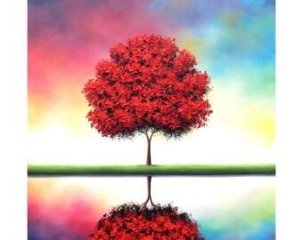 Colorful Landscape Painting, ORIGINAL Oil Painting, Large Painting, Abstract Tree Painting, Tree Art, Impasto Painting, Canvas Art, 24x24