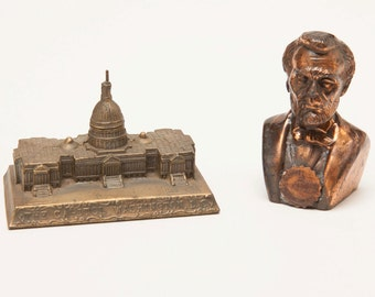 The CAPITOL Building - WASHINGTON DC - 1940's Souvenirs - Copper Bust of Lincoln and Brass Capitol Building