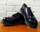 Dr Martens Sale Dr Martens Wingtips 1990s Vintage Doc Martens Shoes Purple Black Brogues UK 6 Spectator Oxfords Leather Air Cushion Sole Win
