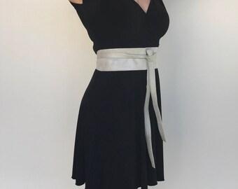 Metallic Suede Leather Obi Belt, Wide Wrap Belts, Wedding,   Fashion Belts