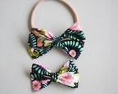 black floral piper bow headband or clip