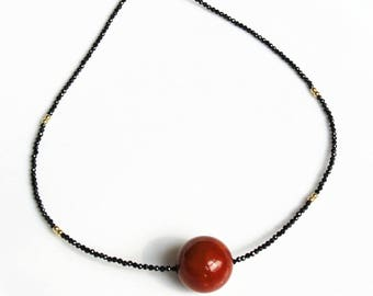 100% natural gemstone red agate black spinel 14k rolled gold plated 925 sterling silver necklace handmade jewelry