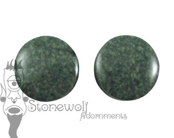 Guatemalan Jadeite 22mm Round Plugs Jade for Stretched Ears Piercings Handmade - Ready to Ship