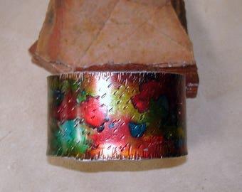 steel cuff, multi colored cuff, unisex cuff,