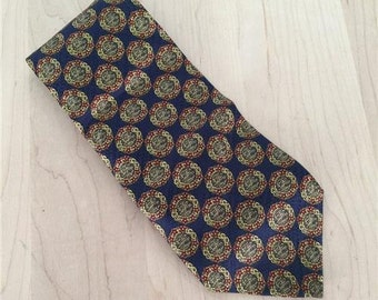 Valentino Cravatte, Mens Neck Tie, Navy Blue and Gold Geometric Circles, 100% Silk, Made in Italy, Excellent used condition