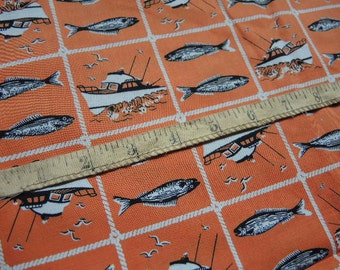 "Vintage 1960s cotton novelty fabric orange fish boats 38"" wide"