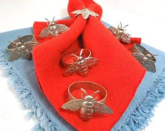Bumble Bee Napkin Rings, Silver Stainless Steel Napkin Rings, Set of 7, tableware, house wares, vintage