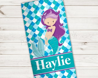 Beach Towel | Mermaid Personalized | Extra Large 30x60 | Ultra-Soft Microfiber Velour | Summer | Gift | Little Girl