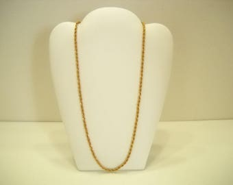 """Vintage Gold Tone Twisted Strand Necklace (7413) 20"""" Long"""
