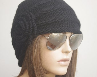WINTER Chemo Hat Black  Cap Hat winter hat Womens Cancer Headwear and Slouch Beanie