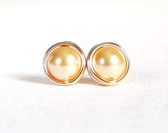 Swarovski Pearl Gold Stud Earrings, 14kt Gold Filled Post, Wire Wrapped