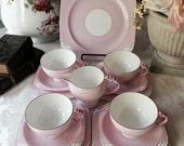 SOLD payment four of four  Star Paragon Art Deco Tea Set 14 Pieces Soft Pink 1920s Reg No 780094 Paragon China Tea Set