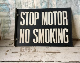 Vintage gas station sign, automotive sign, garage, man cave decor, double sided sign, no smoking sign, antique sign, tin sign, flange sign