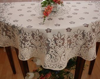 """Gorgeous Ivory Lace table round, Tablecover, table topper, High end decor, 38.5"""" round, Quaker Lace detailing,  Vintage high end decor"""