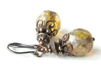 Glass bead earrings - Vintage inspired antiqued copper & faceted Picasso Czech bead boho bride