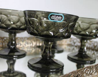 4 (8 available) Vintage 1970s Noritake Perspective Sherbet Dish, Noritake Perspective Smoke Gray, Gray Dessert Dishes, Champagne glasses