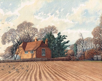 Vintage unframed hand painted, sketch watercolour painting of fields and cottage buildings