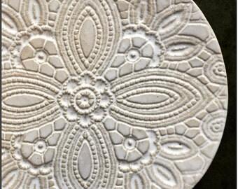 Rustic Ceramic Plate Beige Lace Dessert Plate Pottery Serving Plate