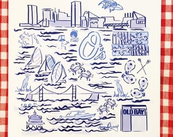 Baltimore City Print in Blue and White