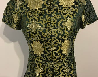 Cheongsam green and gold blouse 1950s style vintage