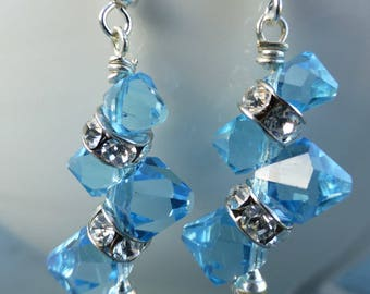 Ten Dollar Earrings! Aquamarine Swarovski Crystal Bicones and Rhinestone Rondells Dangle Drops