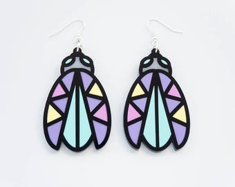 Bug Earrings.Laser Cut Memphis style beetle dangly earrings.Gift for her.Statement Beatle drop earrings.silver plated pastel Insect earring