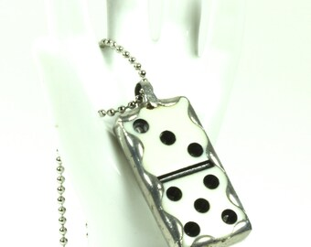 Handcrafted Soldered Art Vintage Miniature Ivory Domino Game Piece Pendant