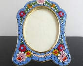 """Small Italian Mosaic Picture Frame, Gold-Tone, Blue with Flowers, 4.5"""" tall, Easel Stand, Classic Style"""